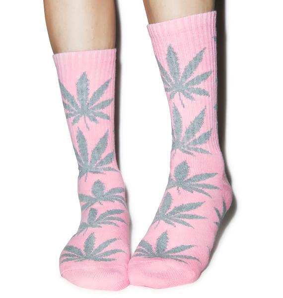HUF Pink Plantlife Crew Socks