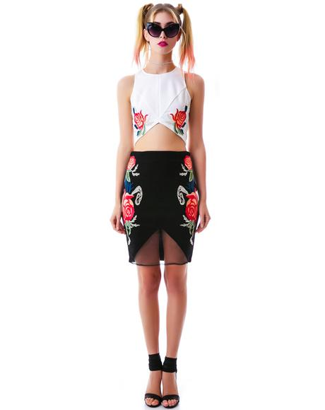 Rose Dynasty Sequined Crop Tank