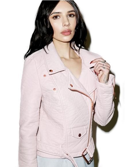 Pink Vegan Leather Moto Jacket