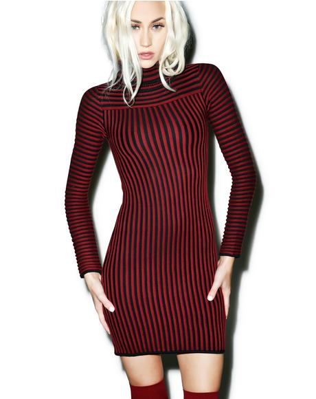 Switch Stripe Turtleneck Dress