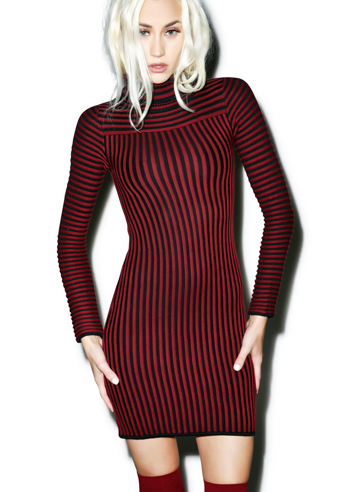 For Love & Lemons Switch Stripe Turtleneck Dress