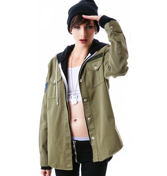 JET by John Eshaya Army Shirt Zip Up Hoodie