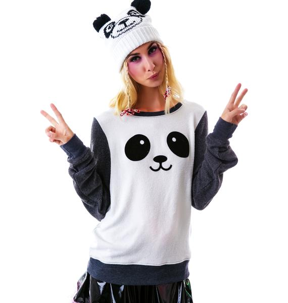 Wildfox Couture Kawaii Panda Baggy Beach Jumper