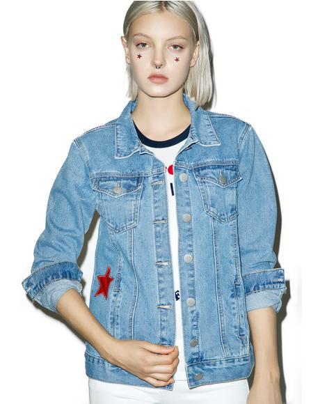 Star Print Denim Jacket