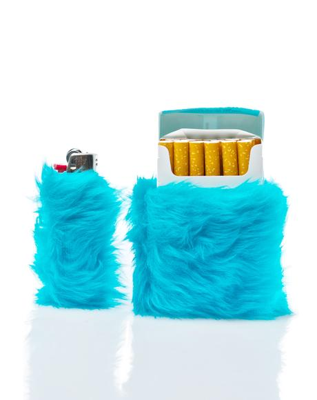 Kandi Krush Teal Lighter & Cigarette Fur Case Set