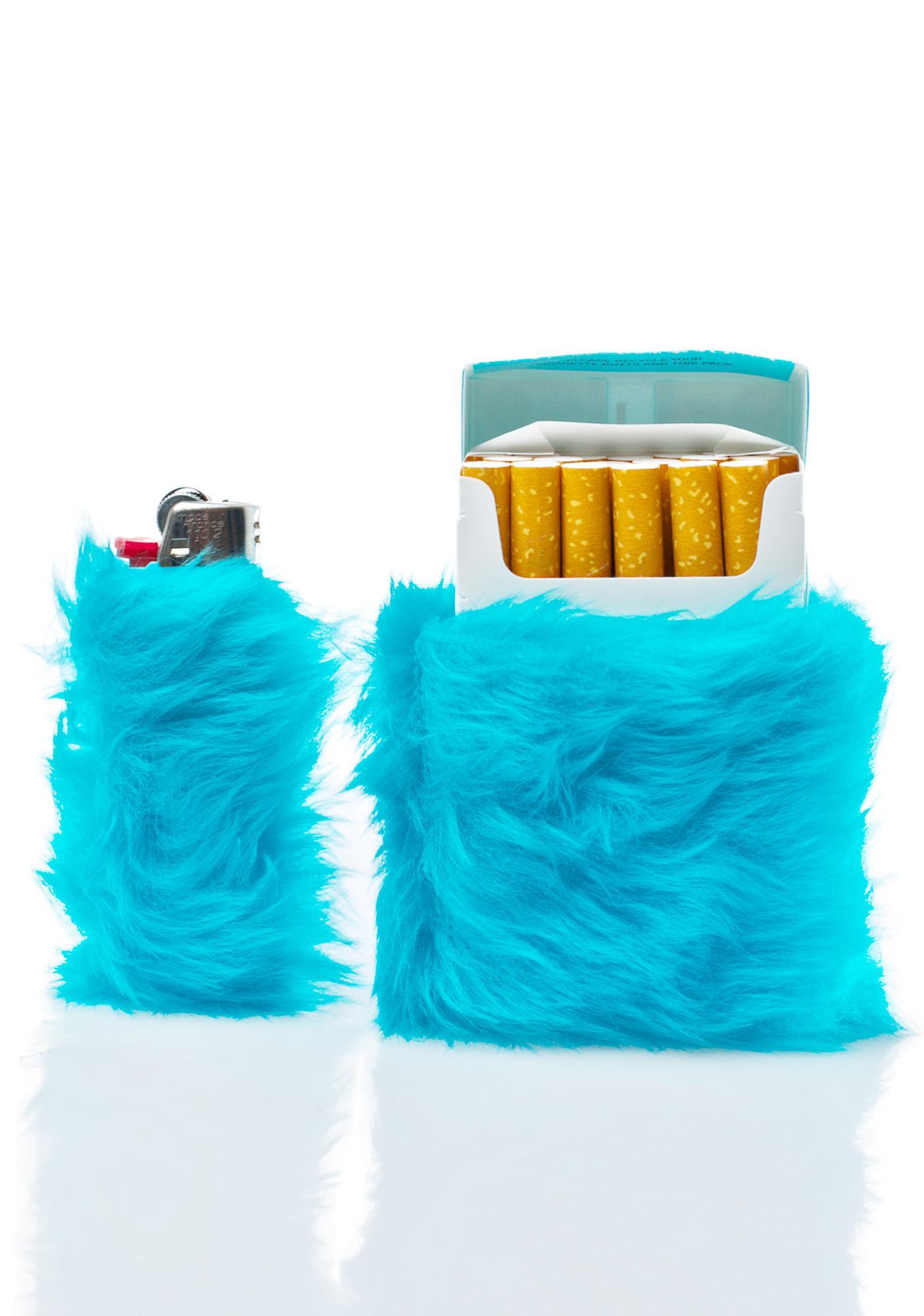 Kerenika Kandi Krush Teal Lighter & Cigarette Fur Case Set