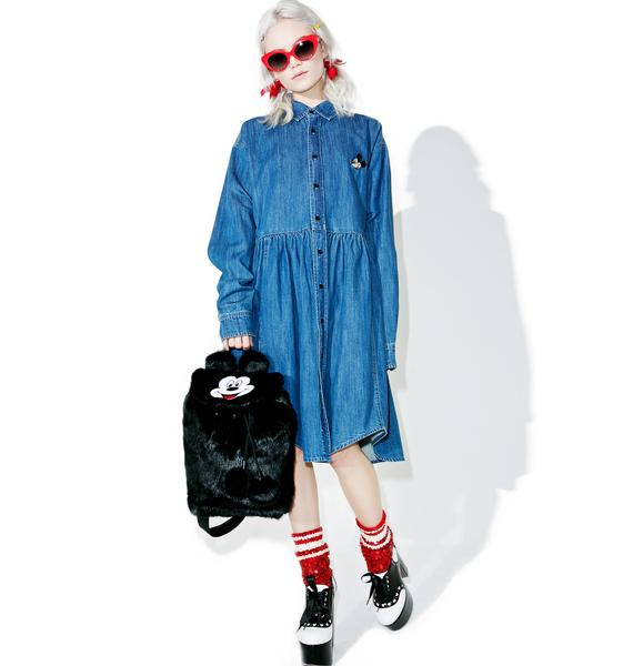 Lazy Oaf X Disney Mickey Mouse Loose Denim Dress