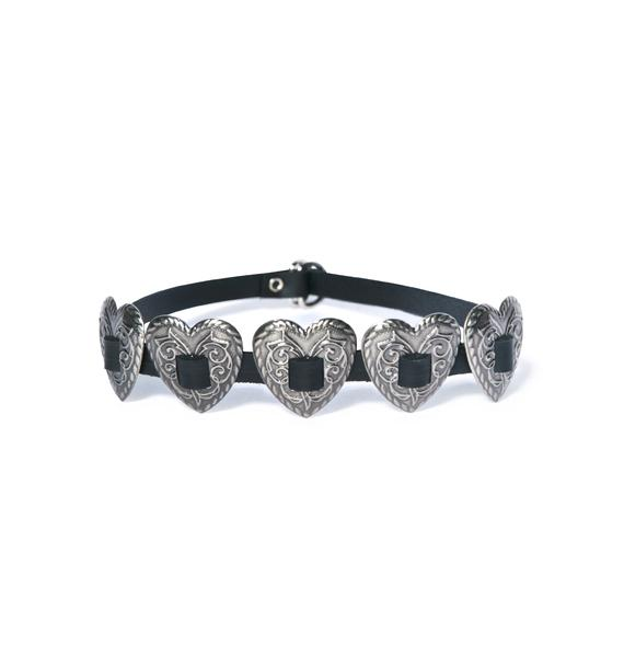 Club Exx Queen Of Hearts Concho Strap Choker
