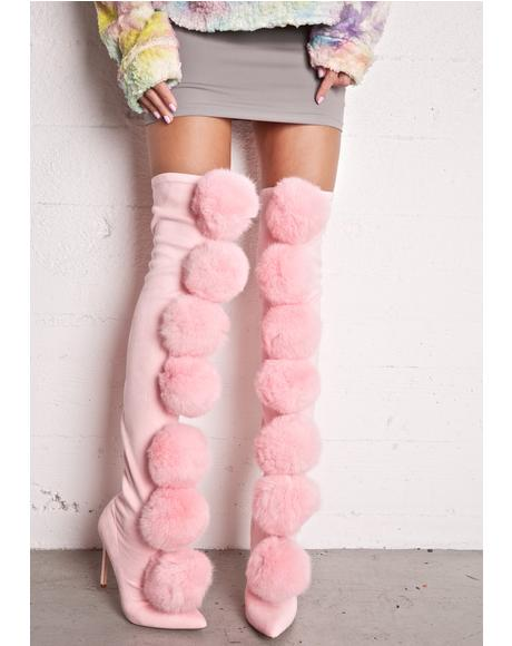Sweet Fury Pom Pom Thigh-High Boots
