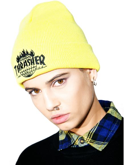 X Thrasher Tour De Stoops Yellow Beanie