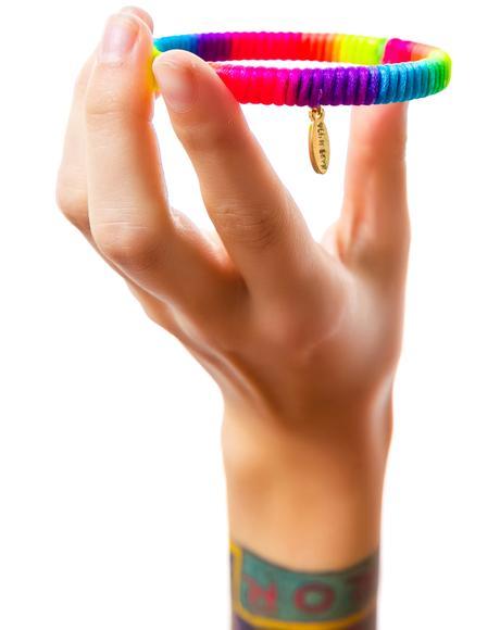 Cora Color Blend Satin Cord Lace Bangle Bracelet