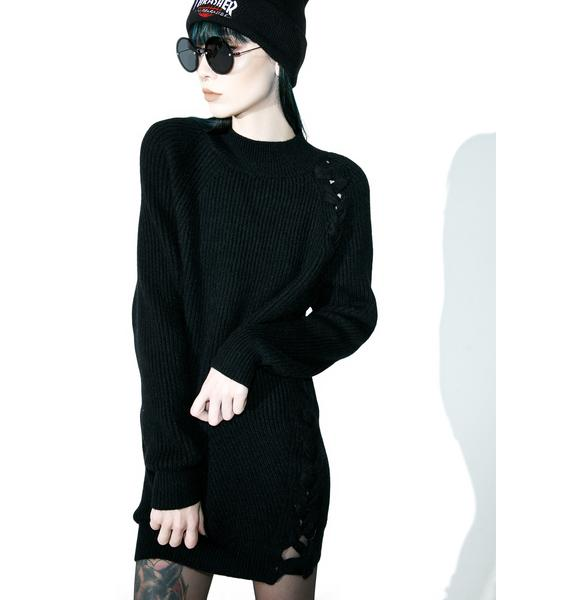 Missguided Lace Up Knit Dress