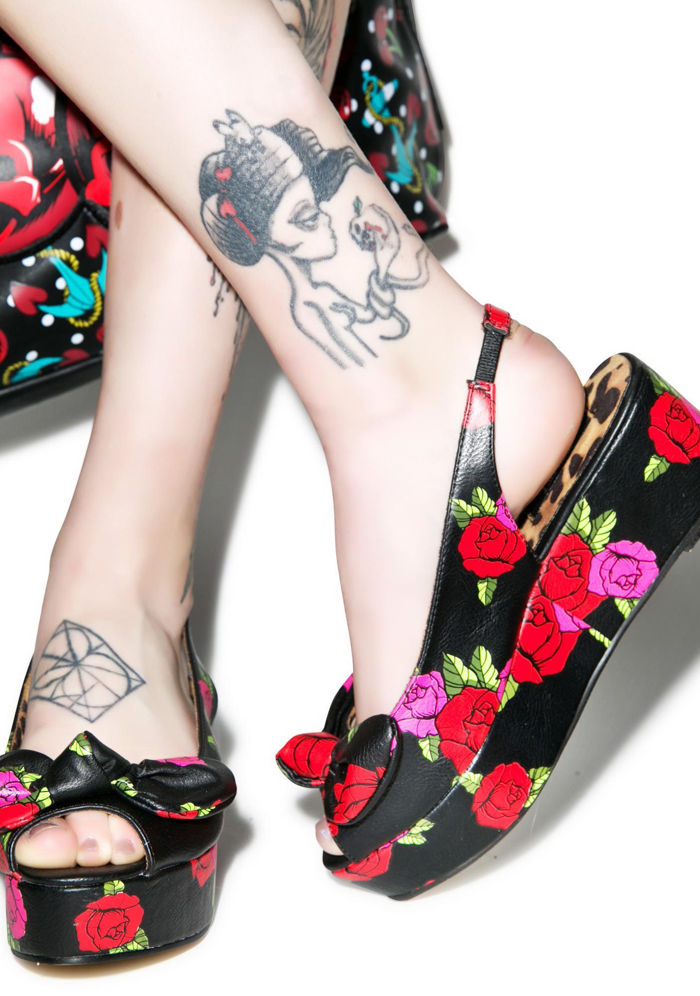Iron Fist Midnight Garden Peep Toe Flatforms