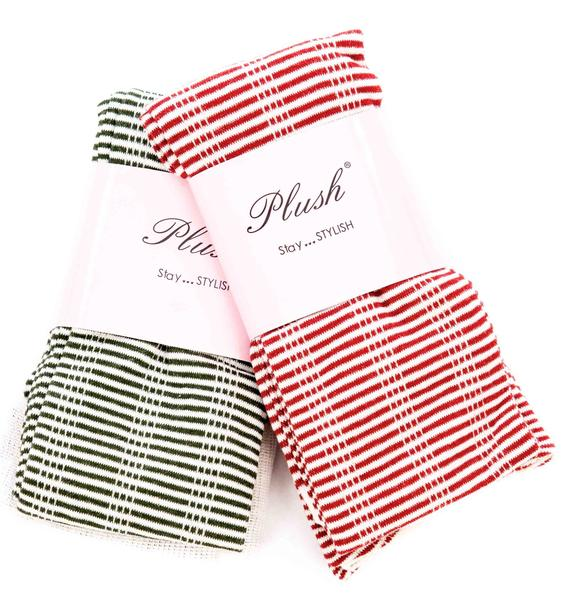 Plush Striped Thigh High Socks