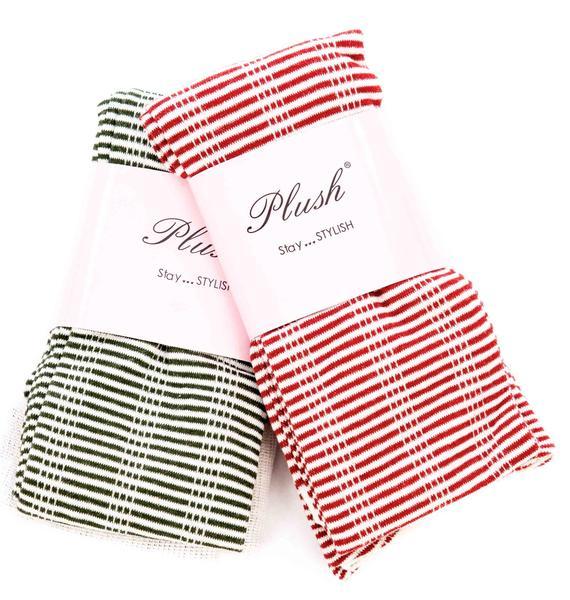 Plush Striped Thigh High Socks