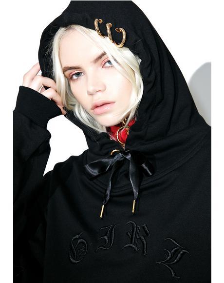 Girl Logo Cropped Hoodie
