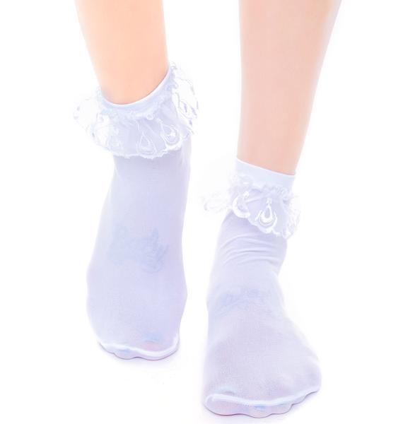 Prep School Lace Ruffle Ankle Socks