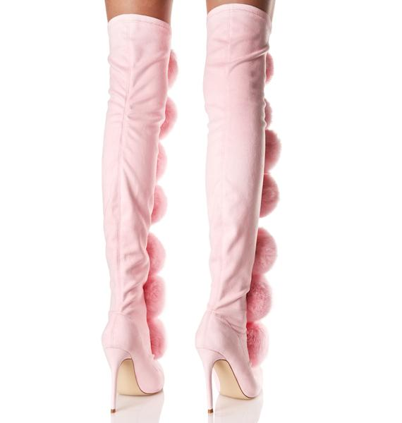 Privileged Sweet Fury Pom Pom Thigh-High Boots