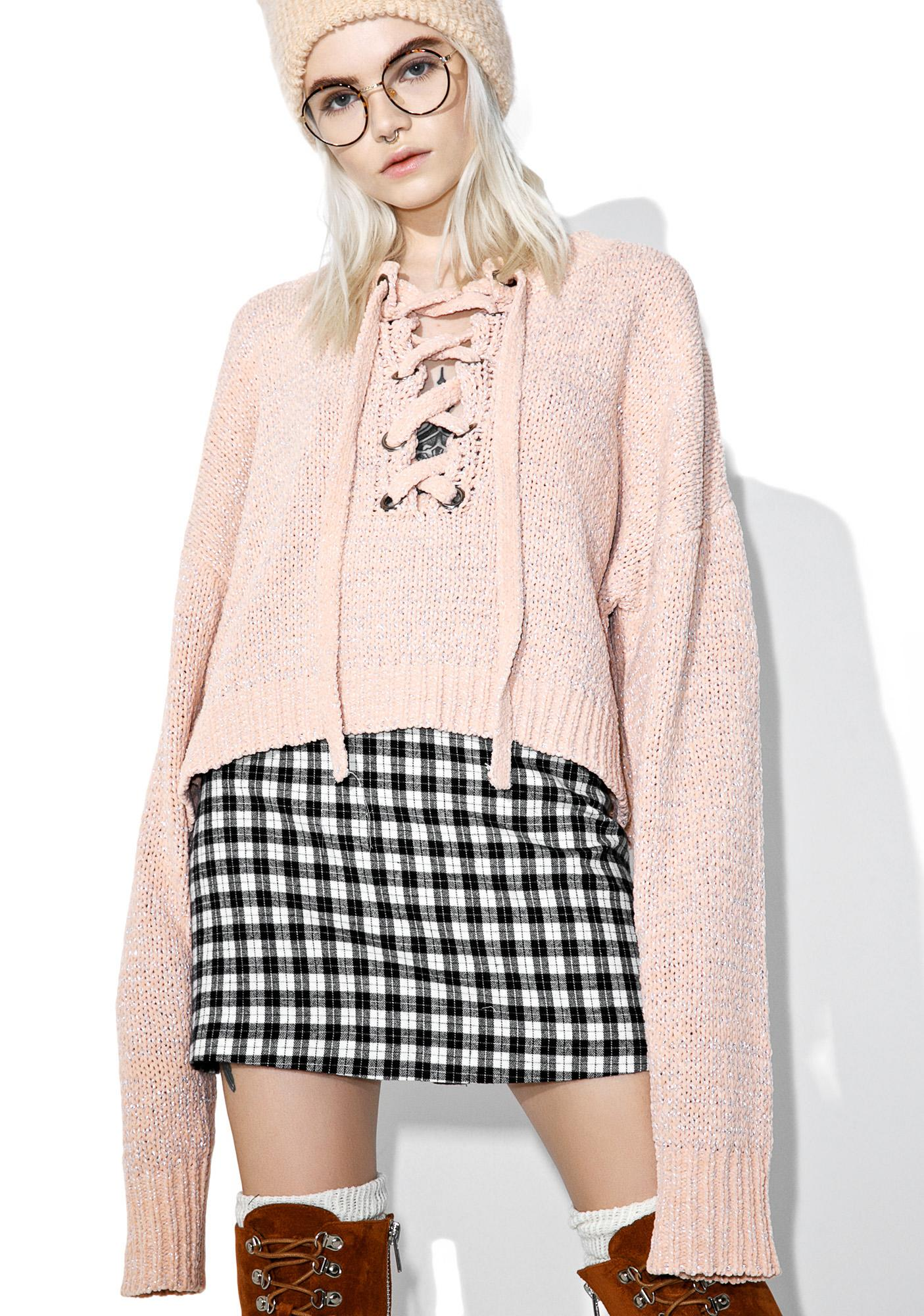 Oh Gee Lace-Up Sweater