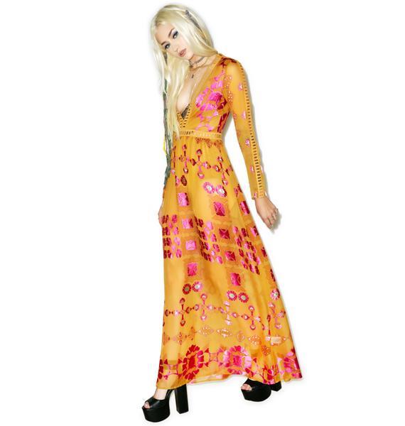 For Love & Lemons Barcelona Maxi Dress in Old Gold