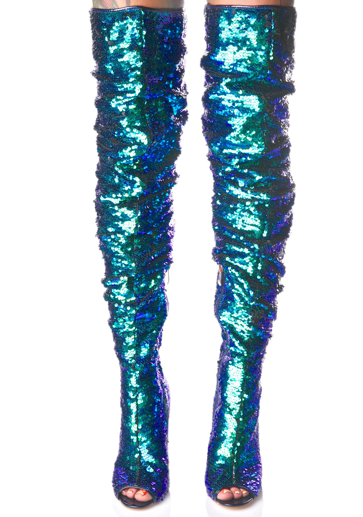sequin thigh high boot dolls kill
