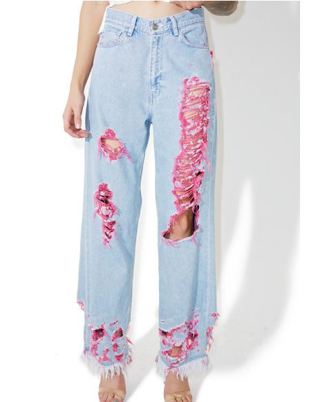 Destroyed Pinky Denim Pants