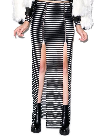 Fall In Line Zip Maxi Skirt