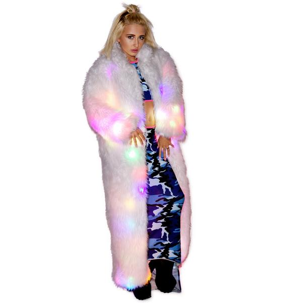 J Valentine Flashing Lights Long Fur Jacket