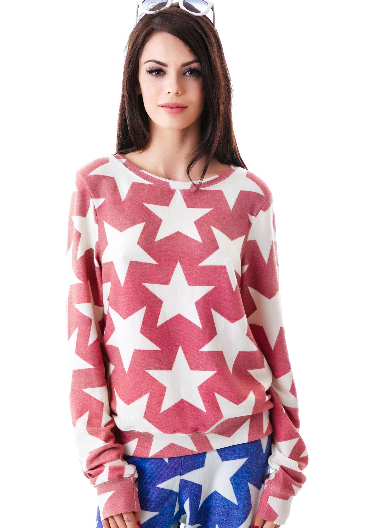 Wildfox Couture Denim Stars Baggy Beach Jumper