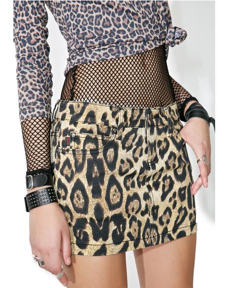Twill Leopard Mini Skirt
