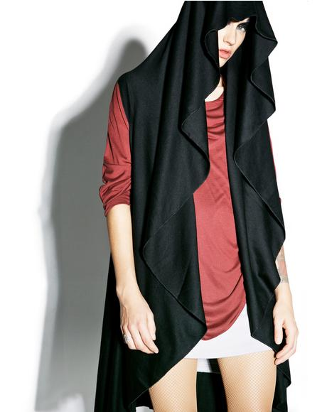 Midnight Shadow Sleeveless Hooded Cardigan