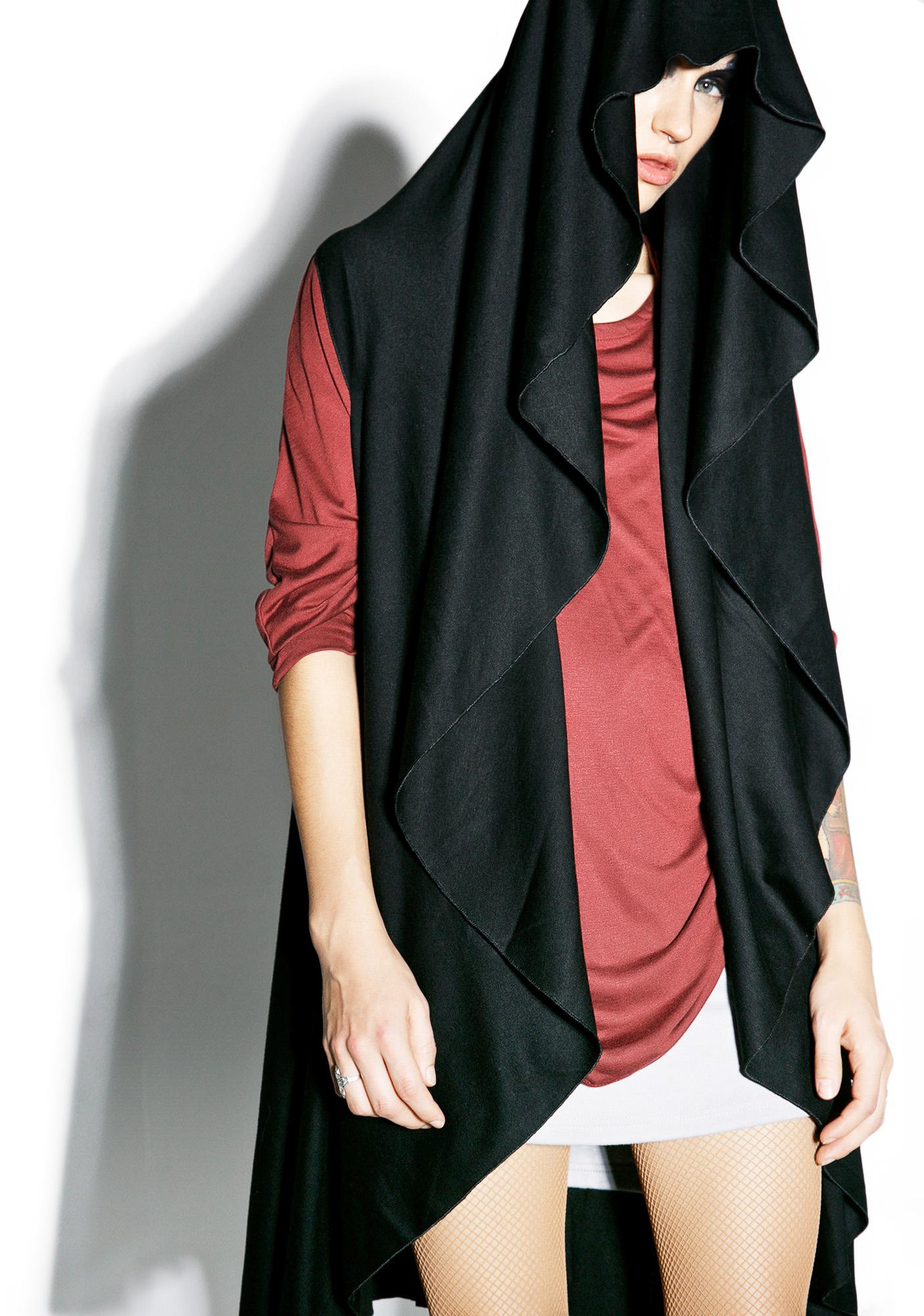 MNML Midnight Shadow Sleeveless Hooded Cardigan