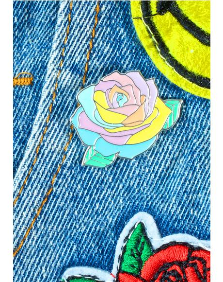 Pastel Rainbow Rose Pin