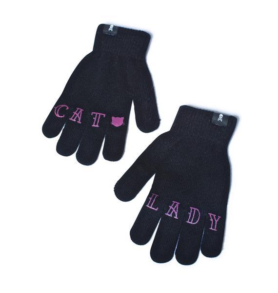 Sourpuss Clothing Cat Lady Knit Gloves