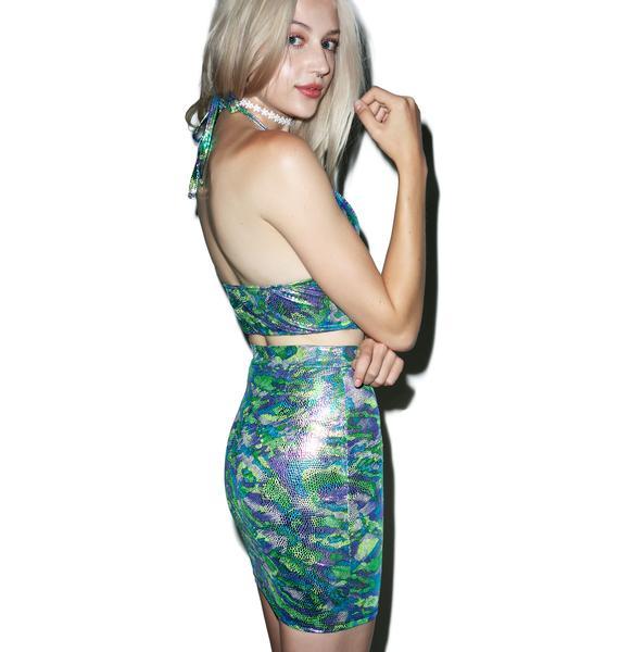 Vera's Eyecandy Aquamarine Camo Two Piece Dress