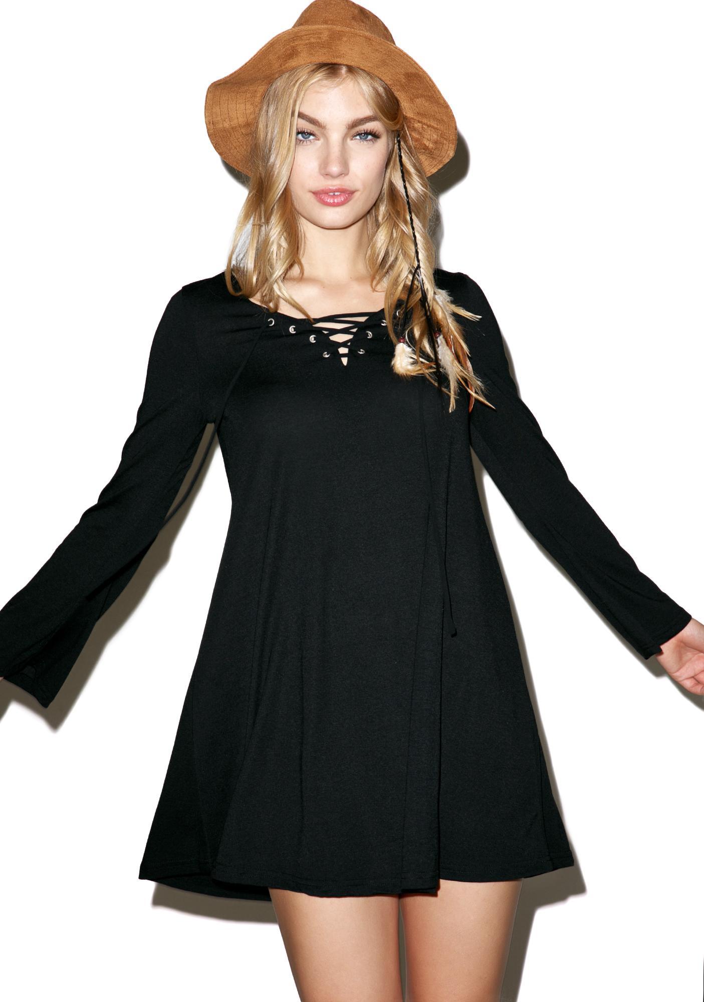 Glamorous Up & At Them Lace Up Tunic Dress