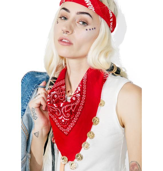 Scarlet Coined Bandana