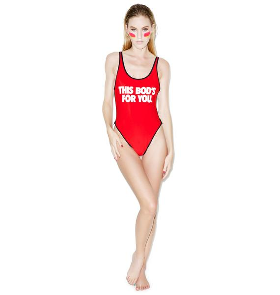 Wildfox Couture This Bod's For You 80's Zipper One-Piece