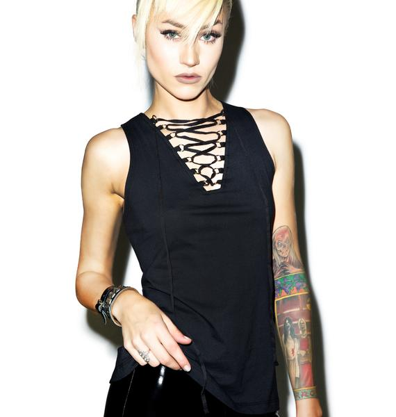 Tripp NYC Laced Neck Tank Top
