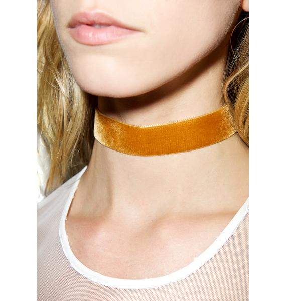 Regal Rose Mustard Velvet Choker
