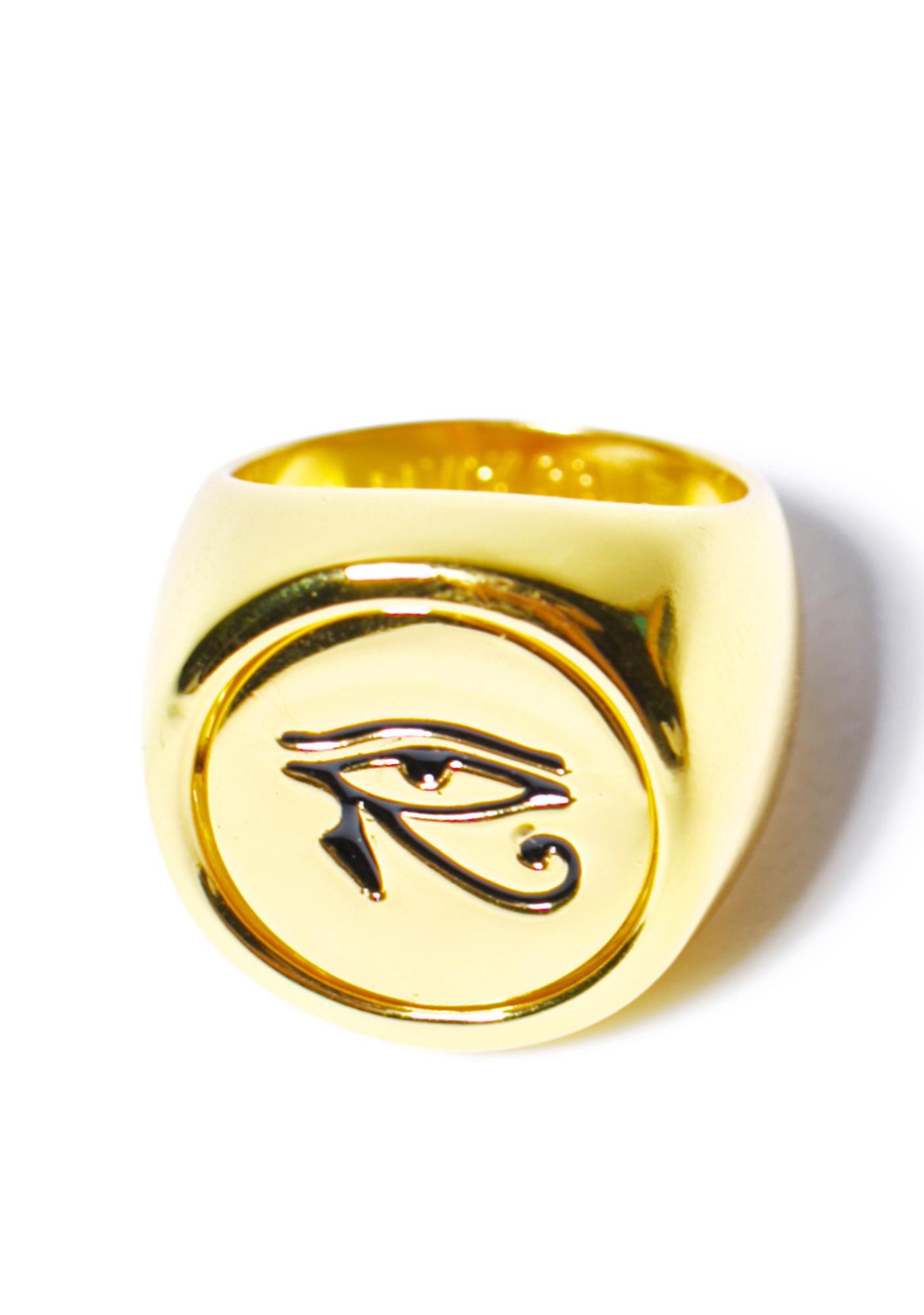 Black Scale Lunar Eye Flip Ring