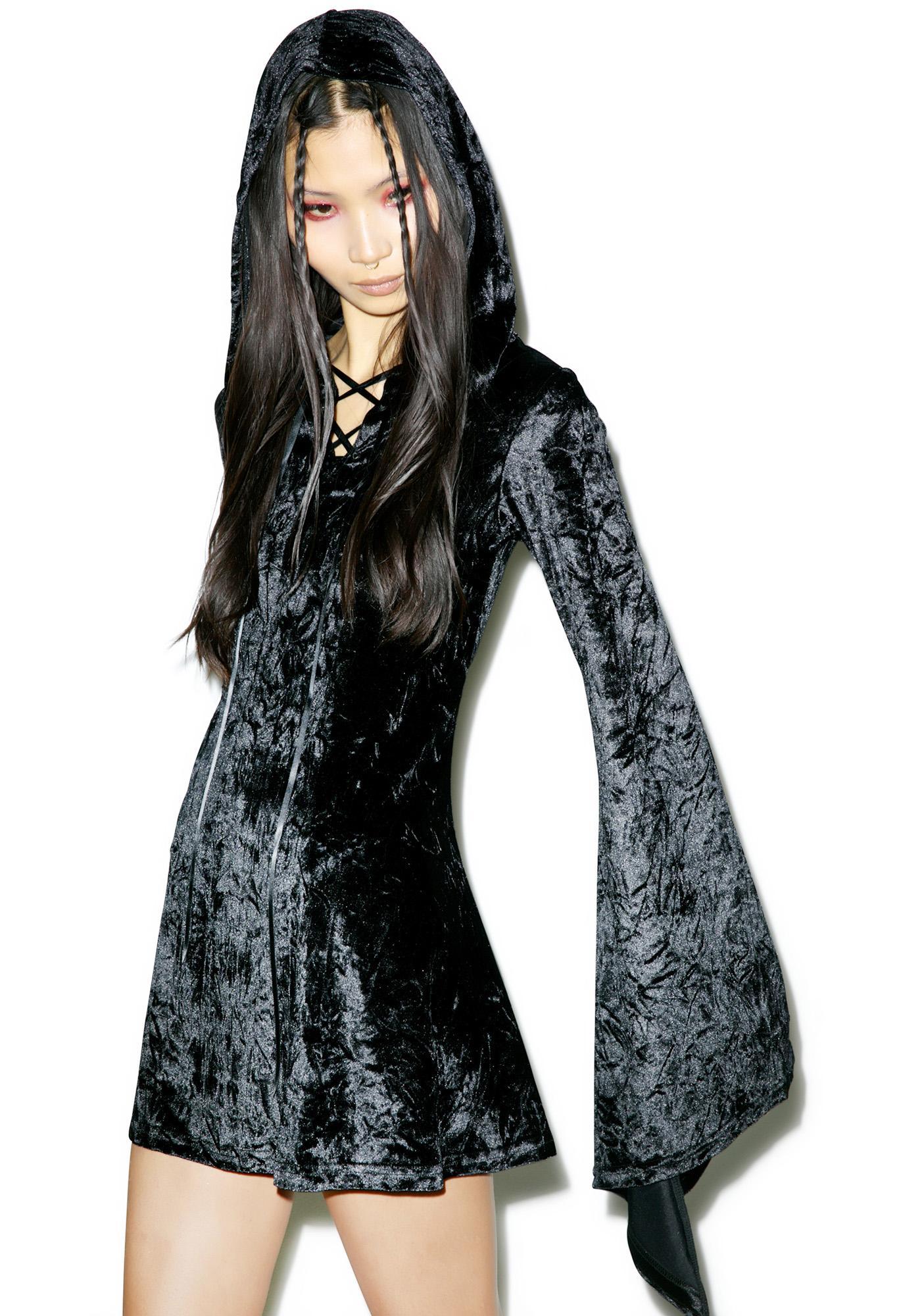 Killstar Velvet Witch Hooded Dress