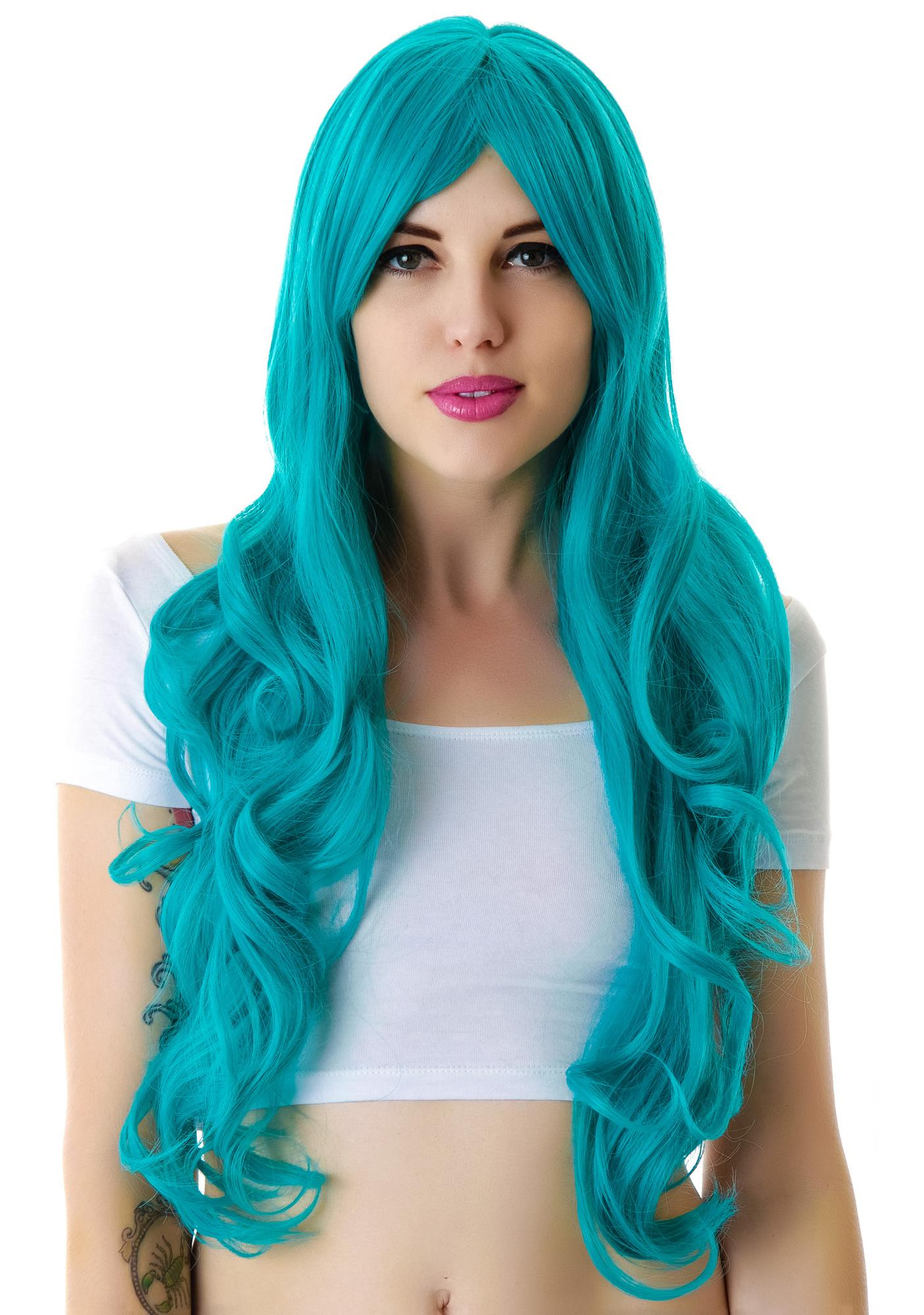 Lip Service Turquoise Envy Wig