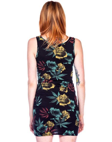 Weed and Roses Print Mini Dress