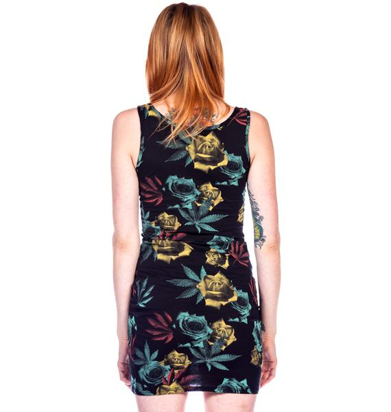 Dimepiece Weed and Roses Print Mini Dress