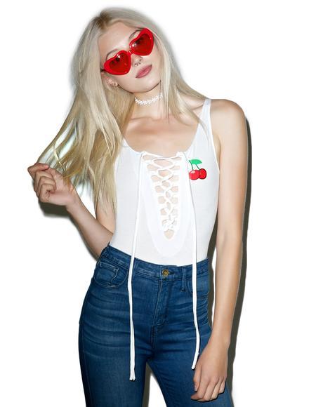 Cherry Lace-Up Bodysuit