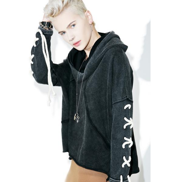 Dat Part Lace Up Hoodie
