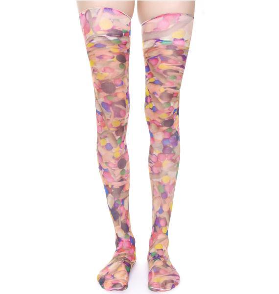Coveted Society Dolls n' Gumballs Sheer Knee High Socks