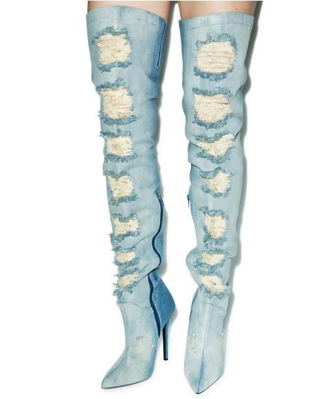 Matheson Denim Thigh-High Boots