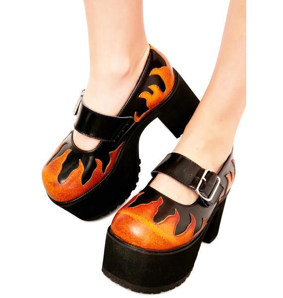 T.U.K. Split Stack Mary Jane Flames Nosebleed
